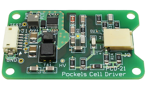 PCD-21p: OEM Pockels cell driver. For cavity dumping, q-switch control, ultrafast optical beam modulation in solid-state lasers (SSL). Provides HV bell-shaped pulses. Compact design & light weight. Buy online at https://teo.technology!